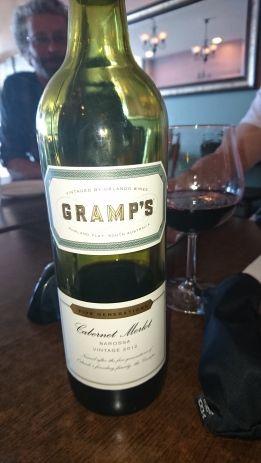 We hd Gramps wine, I wanted to make it say Grumps and throw it to Pa at one stage, but the poor old soul couldn't hear a thing!